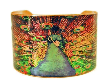 PEACOCK in FULL PLUME cuff bracelet brass or aluminum Gifts for her