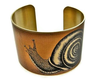 Snail cuff bracelet Vintage style brass or aluminum (As seen in Minnesota Monthly magazine) Gifts for her