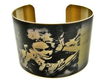 Frida Kahlo cuff bracelet brass or aluminum adjustable Free Shipping to USA Gifts for her