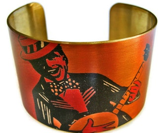 Banjo Player cuff bracelet brass or aluminum adjstable Free Shipping to USA Gifts for her