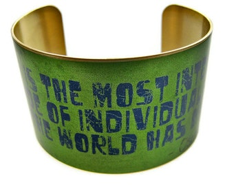 "OSCAR WILDE cuff bracelet ""Art is the most intense..."" brass or aluminum Gifts for her"