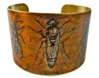 Bees cuff bracelet Worker, Queen, Drone brass or aluminum Gifts for her beekeeper