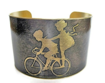 Kids on Bike cuff bracelet brass or aluminum Gifts for her