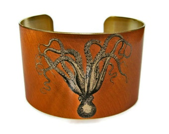 Cuttlefish and Seahse cuff bracelet brass   Gifts for her