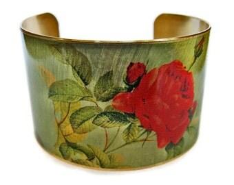 Rose cuff bracelet brass or aluminum adjustable Gifts for her