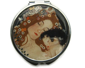 Klimt Mother and Child Pocket Mirror Compact Large Gifts for her