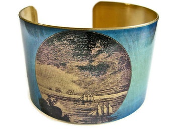 Galleon Ships cuff bracelet brass or aluminum Gifts for her