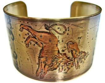 Leo Zodiac Astrology Horoscope cuff bracelet brass or aluminum Gifts for her