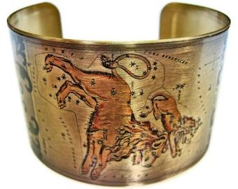Leo Zodiac Astrology Horoscope cuff bracelet brass or aluminum Gifts for her