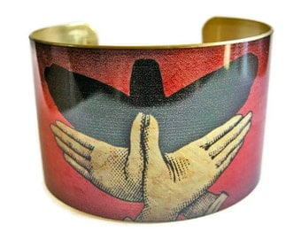 Bird Shadow Puppet cuff bracelet brass or stainless steel Gifts for her