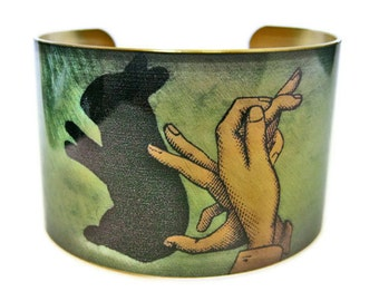 Rabbit Shadow Puppet cuff bracelet brass or aluminum Gifts for her