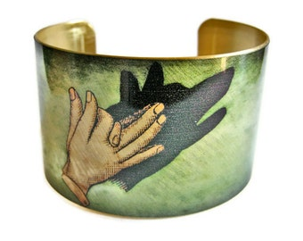 Wolf Shadow Puppet cuff bracelet brass or aluminum Gifts for her