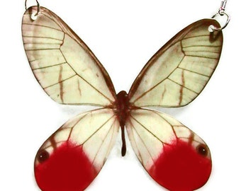 Necklace Glasswing Butterfly Large or Small Pendant Gifts for her