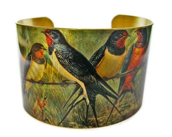 Barn Swallows cuff bracelet Bird Vintage style brass or aluminum Free Shipping to USA Gifts for her