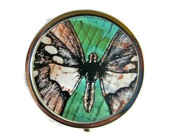 Pill Box Stash Case Butterfly Silver