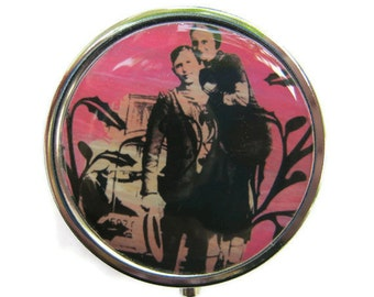 Bonnie and Clyde Pill Box Stash Case Silver Medicine Case