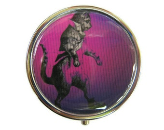 Dancing Cat Pill Box Stash Case Silver Medicine Case