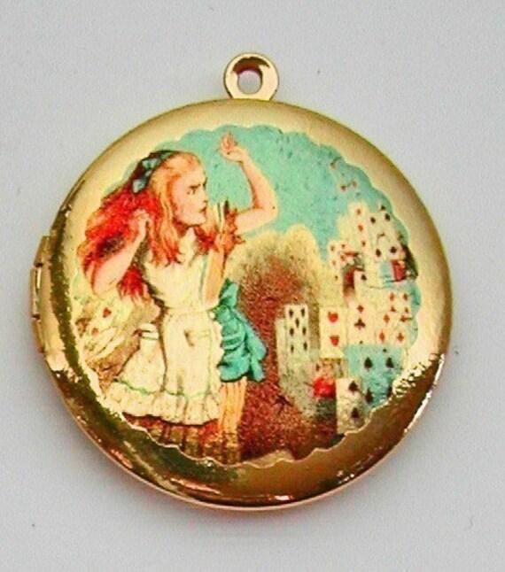 SALE ... ALICE IN WONDERLAND CARDS Vintage Brass Photo Locket UNIQUE ART PENDANTS Molly Spilane FREE SHIPPING WORLDWIDE Sale
