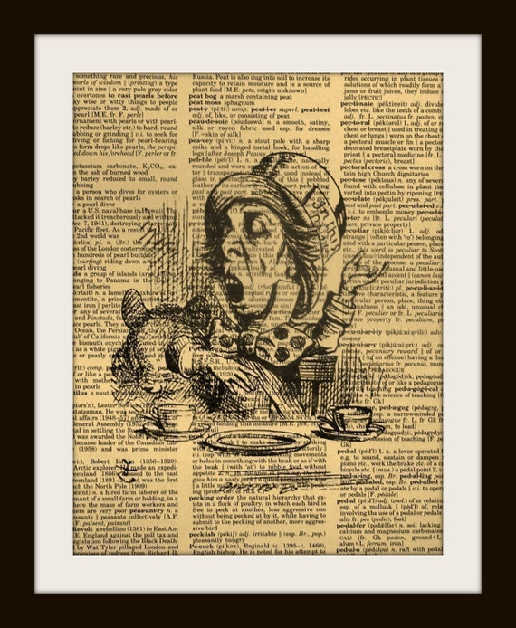 ALICE IN WONDERLAND MAD HATTER Print on Vintage Dictionary Page LARGE 8 x 10