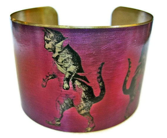 DANCING CAT cuff bracelet brass or steel Free Shipping to USA Gifts for her