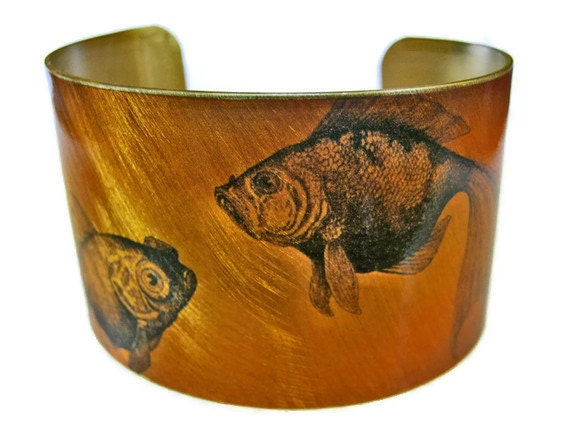 Goldfish cuff bracelet (As seen in Minnesota Monthly magazine) brass or stainless steel Gifts for her