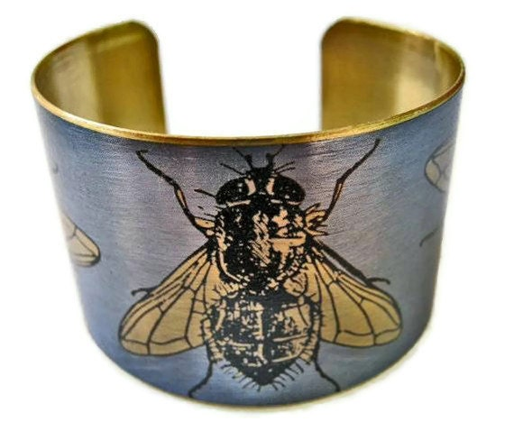 Cuff Bracelet Flies vintage insect illustration brass or stainless steel Free Shipping to USA