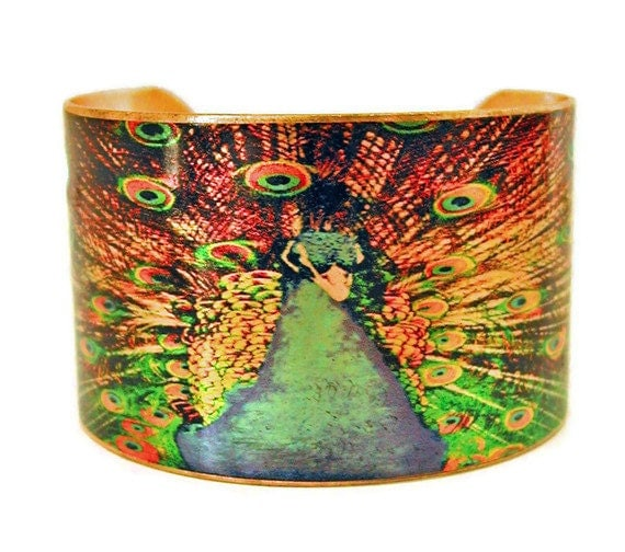 PEACOCK in FULL PLUME cuff bracelet brass or stainless steel Gifts for her