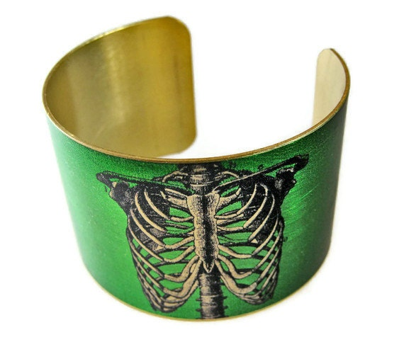 Anatomical Ribcage cuff bracelet brass or stainless steel Gifts for her