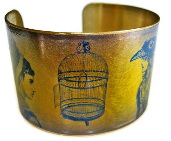 EMPTY BIRDCAGE brass or aluminum cuff bracelet Free Shipping to USA Gifts for her