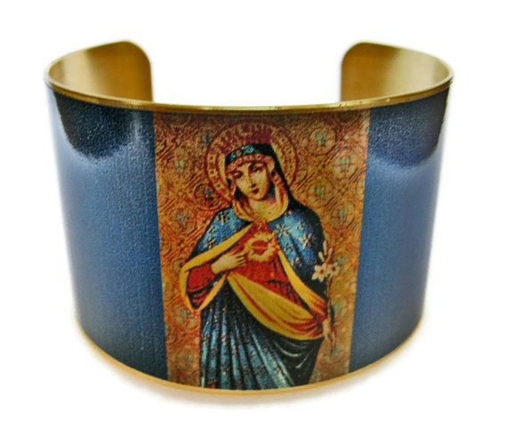 Immaculate Heart of Mary cuff bracelet brass or stainless steel Gifts for her