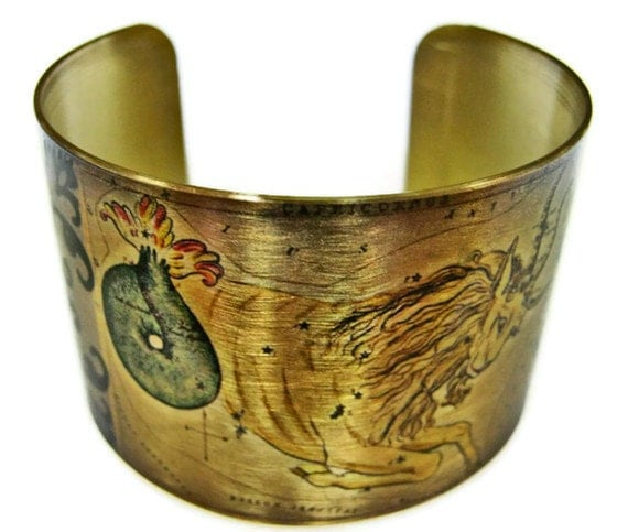 Capricorn Zodiac Astrology Horoscope cuff bracelet brass or stainless steel Free  Shipping Gifts for her