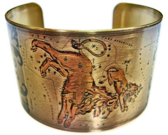 Leo Zodiac Astrology Horoscope cuff bracelet brass or stainless steel Gifts for her