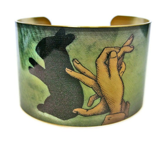 Rabbit Shadow Puppet cuff bracelet brass or stainless steel Gifts for her