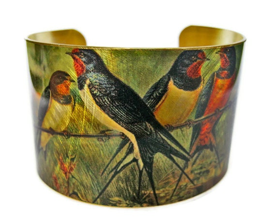 Barn Swallows cuff bracelet Bird Vintage style brass or stainless steel Free Shipping to USA Gifts for her
