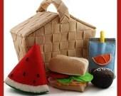 NEW - PERFECT PICNIC - PDF Felt Food Pattern (Basket, Hoagie Sandwich, Juice Pouch, Cupcake, Watermelon)