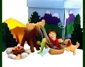Moose Creek Camp - PDF Doll Pattern (Tent, Sleeping Bag, Camper, Fish, Moose, Dog, Boat, Trees, Camp Fire, Fishing Pole)
