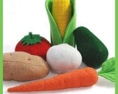 VEGETABLES - PDF Felt Food Pattern (Corn on the Cob, Onion, Carrot, Tomato, Avocado, Potato)