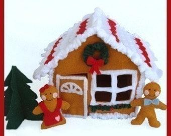 GINGERBREAD HOUSE - PDF Felt Food Pattern (House, Cookies, Christmas Tree)