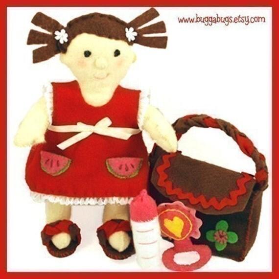 BABY OLIVIA - PDF Doll Pattern (Doll, Dress, Shoes, Diaper Bag, Bottle, Rattle)