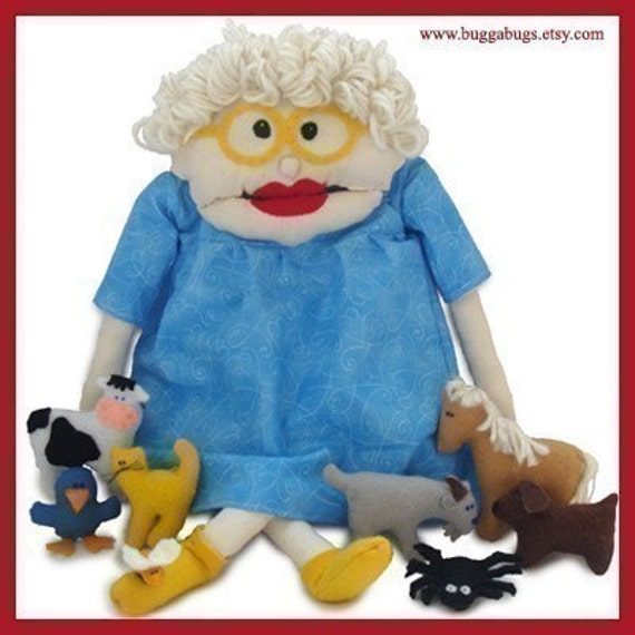 I Know An Old Woman - PDF Doll Pattern (Doll, Fly, Spider, Bird, Cat, Dog, Goat, Cow, Horse)