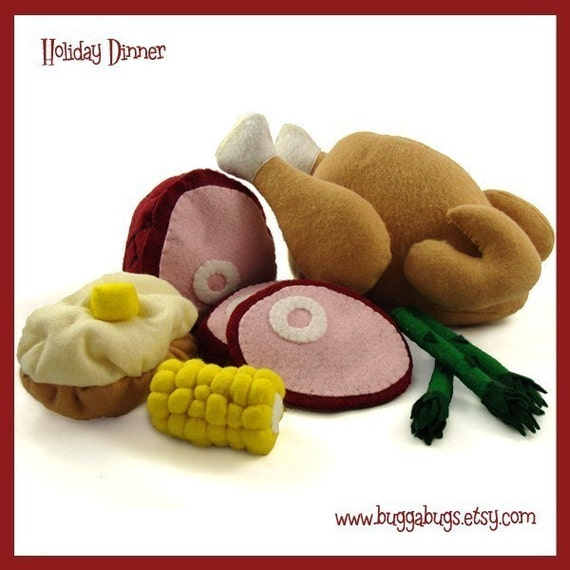 HOLIDAY DINNER - PDF Pattern (Turkey, Ham, Baked Potato, Corn, Asparagus)