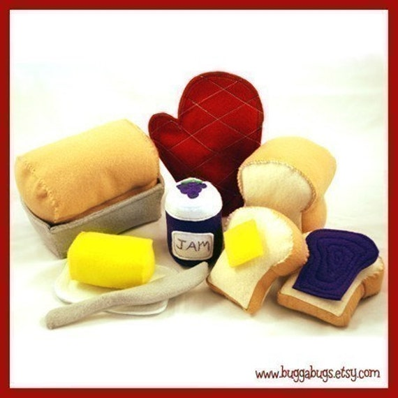 HOMEMADE BREAD - PDF Felt Food Pattern (Whole Loaf, Half Loaf, Slices, Butter and Dish, Jam, Bread Pan, Oven Mitt)