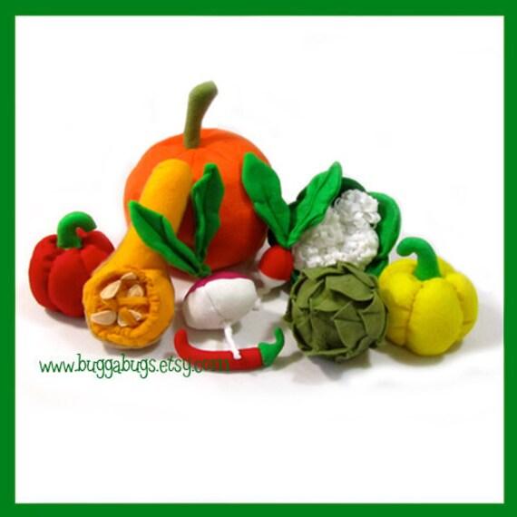 GARDEN VEGGIES - Felt Food PDF Pattern (Pumpkin, Artichoke, Bell Pepper, Radish, Turnip, Butternut Squash, Cauliflower, Jalapeño)