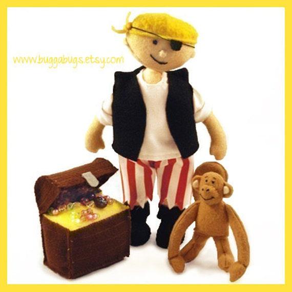 PIRATE JACK - PDF Doll Pattern (Pirate, Monkey, Treasure Chest)