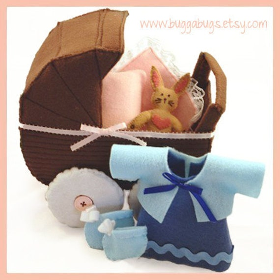 OLIVIA'S OUTING - PDF Doll Pattern (Buggy, Dress, Shoes, Blanket, Pillow, Bunny)