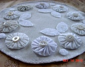 Shabby Cottage Chic Romantic White YoYo Wool Candle Mat  CAPSTeam CAST Team  FTTeam