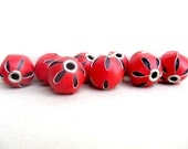 10 pcs Leatherette Beads, Faux Leather Beads, Basketball Wives Earrings, Red