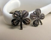2 Four Leaf Clover Brass Charms Hand Antiqued