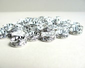 Basketball Wives Earrings, 10mm Rhinestone Rondelle Spacers, Silver 50 pcs