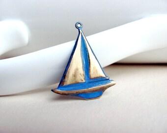 Hand Patina Blue Sailboat Charm